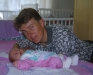 Tomaz with his newborn son, Tomaz